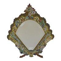 French Champleve Enamel Bronze Fan Shaped Beveled Mirror Table Frame