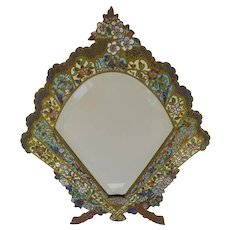 French Champleve Enamel Bronze Fan Shaped Beveled Mirror Table Frame