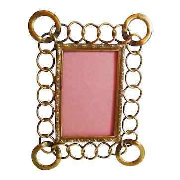 D.R.G.M. Miniature Thin Brass Rings Picture Frame Larger Corners