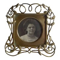 English Art Nouveau Brass Picture Frame with Leaves