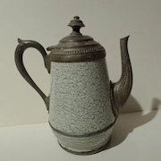 "FRENCH ENAMEL & Pewter Coffeepot 8"" high 19th C."