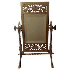 AESTHETIC Movement  American Brass Beveled Swivel Mirror