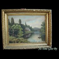 Antique Landscape Painting - Oil On Board