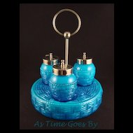 Victorian Condiment Set in Blue Cased Glass - Basket Weave Pattern