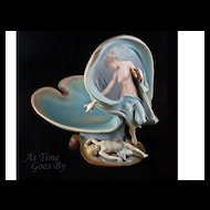 Hand Painted Three Dimensional Female w/ Putto Figural Centerpiece - German