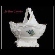 Hand Painted Dresden Flower Porcelain Mint Basket - Thieme