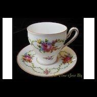 Hand Painted Dresden Flower Porcelain Cup & Saucer - Thieme