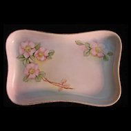 Porcelain Hand Painted Roses Pin Tray, Dish