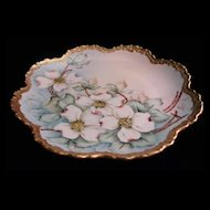 Hand Painted Dogwood Porcelain Plate, Twentieth Century, Artist Signed