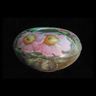 Roses, Hand Painted on a William Guerin Porcelain Hair Receiver