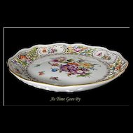 Saxony Dresden Hand Painted and Reticulated Centerpiece Bowl