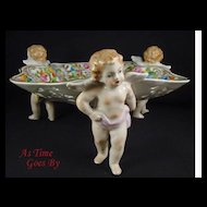 Hand Painted Dresden Flower Porcelain Reticulated Bowl with Putti Trio - Thieme