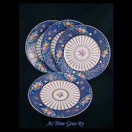 Hand Painted Cobalt Bordered Cabinet Plate Set - Dessert - Lamm
