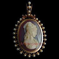Exquisite Hard Stone Signed Cameo Pendant in 14K Yellow Gold - Psyche