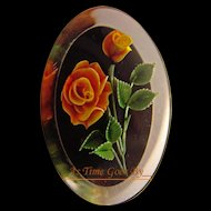Vintage Lucite Carved Rose Brooch