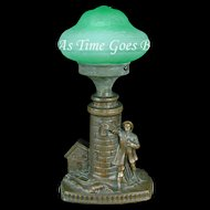 Fabulous Light House Lamp with Green Glass Shade