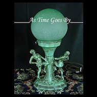 Figural Antique Lamp with Green Glass Globe