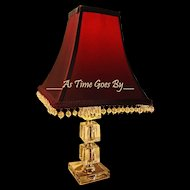Crystal Vintage Table Lamp with Maroon Hand Beaded Shade