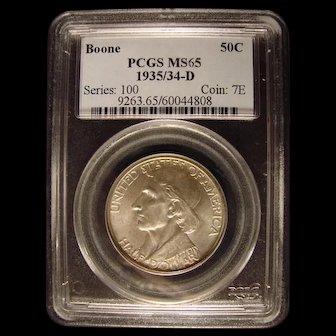 Daniel Boone  Bicentennial 1935/34 - D PCGS MS65 Commemorative Half