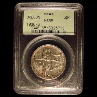 Oregon Trail 1936-S  PCGS MS65 Commemorative Half