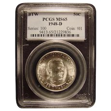 Booker T Washington Memorial 1948-D PCGS MS65 Commemorative Half LOW MINTAGE