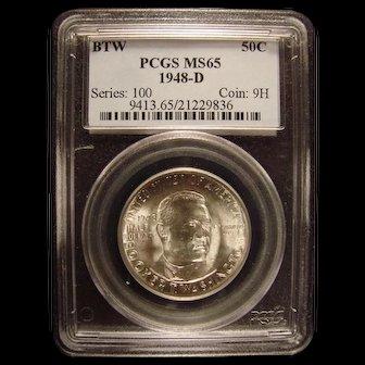 Booker T Washington Memorial 1948-D PCGS MS65 Commemorative Half LOW MINTAGE