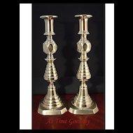 Antique Pair of English Brass Push Up Candlesticks - 19th Century