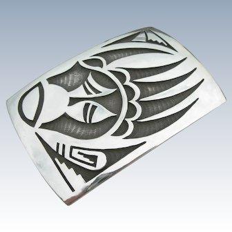 Steven Sockyma - Hopi Overlay - Sterling Silver Belt Buckle