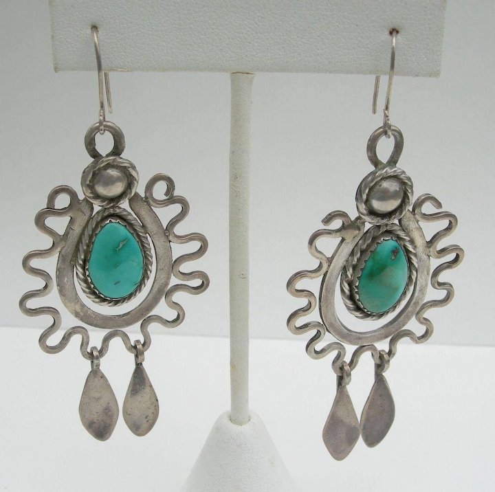 Dyaami Lewis Sterling Turquoise Chandelier Earrings