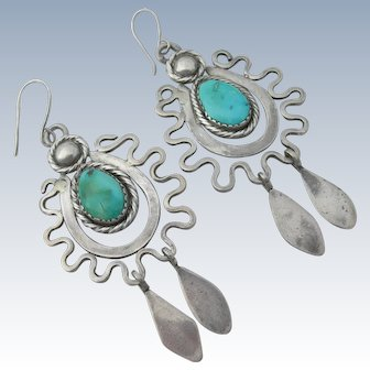 Dyaami Lewis - Sterling & Turquoise - Chandelier Earrings