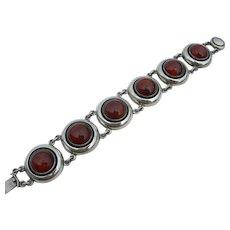 N E From – Modernist Denmark Sterling – Amber Link Bracelet