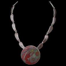 Margot de Taxco - Sterling Silver and Enamel - Necklace Pendant Brooch