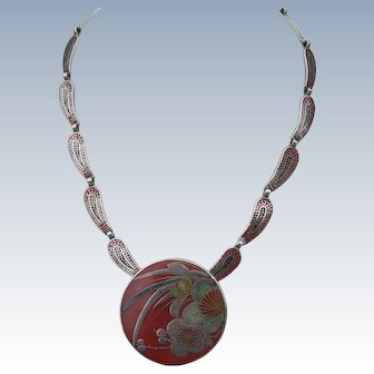 Margot de Taxco - Sterling Silver and Enamel - Necklace Pendant Brooch