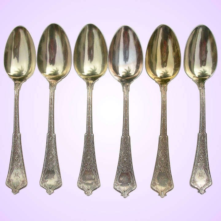 Tiffany Sterling Oval Soup Spoons Persian Pattern Initial W