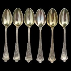 Tiffany Sterling Oval Soup Spoons- Persian Pattern - Initial W