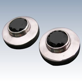 Burle Marx - Sterling and Black Onyx - Clip Earrings
