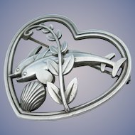 Georg Jensen - Sterling Silver - Dolphin Pin #312