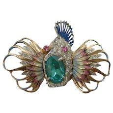 Coro Craft - Sterling Silver - Rockfish Brooch