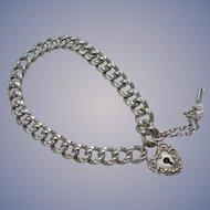 Antique Sterling - Heart Lock Bracelet - Working Key