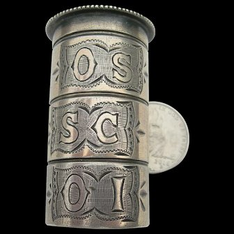 Antique Catholic Pyx - Sterling Silver - Holy Oil - 3 Compartments