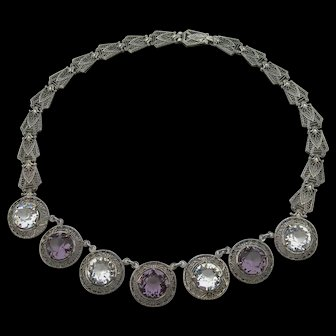 Art Deco Sterling Silver - Amethyst and Quartz - Filigree Necklace - Signed