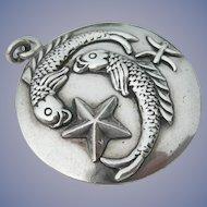 Margot de Taxco - Zodiac Pisces Medallion -Sterling Silver