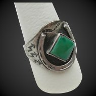 Fred Harvey - Sterling Silver and Turquoise - Cigar Band Ring