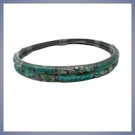 Chinese Wedding Bracelet - Sterling Silver and Enamel - Bamboo