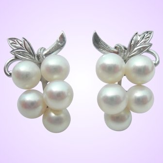 Mikimoto Pearls - Sterling Silver - Vintage Earrings