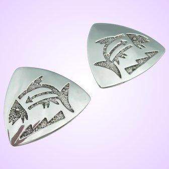 Richard Tsosie - Navajo Sterling Silver - Clip Earrings