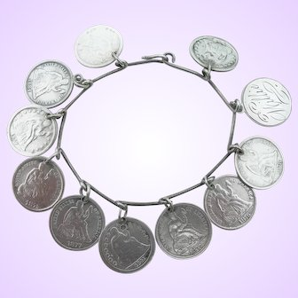 Victorian Love Token Bracelet - Silver US Coins