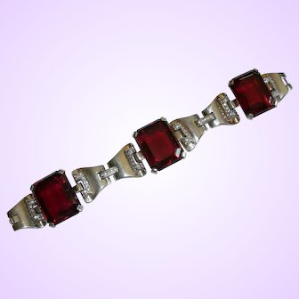 Crown Trifari Philippe - Sterling - Deco Style Tank Bracelet