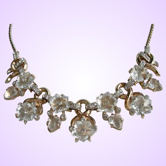 Trifari Philippe - Dewdrops Necklace - Carved Lucite and Rhinestones