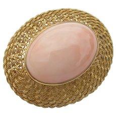 18K Angel Skin Coral - Basket Weave - Pin Brooch